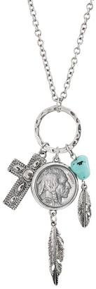 American Coin Treasures Buffalo Nickel Silvertone Cross and Feather Pendant