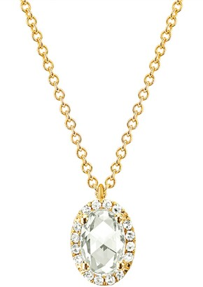 Ef Collection 14K Yellow Gold White Topaz Oval Necklace - 0.05 ctw
