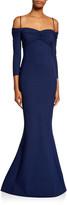 Chiara Boni Hela Sweetheart Cold-Shoulder 3/4-Sleeve Mermaid Gown