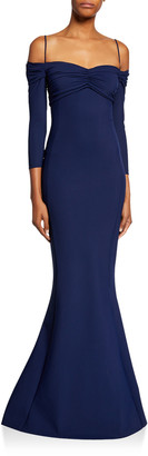 Chiara Boni Hela Sweetheart Cold-Shoulder 3/4-Sleeve Mermaid Gown