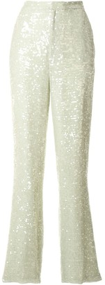 Sally LaPointe Sequin High-Waisted Trousers