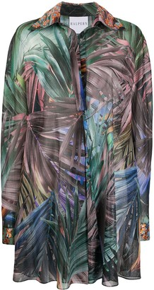 Halpern Palm Leaf-Print Shirt Dress