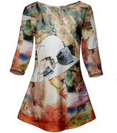 Azalea Orange & Beige Painting Three-Quarter Sleeve Tunic - Plus Too
