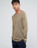 Asos Grandad Neck Jumper In Merino Wool Mix