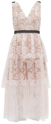 Self-Portrait Starlet Rose Floral-embroidered Tulle Midi Dress - Light Pink