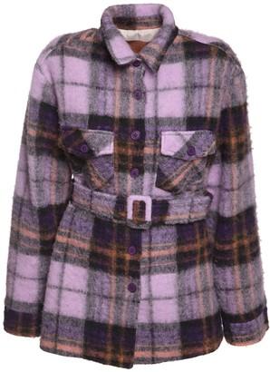 The Andamane Evita Oversize Belted Flannel Jacket