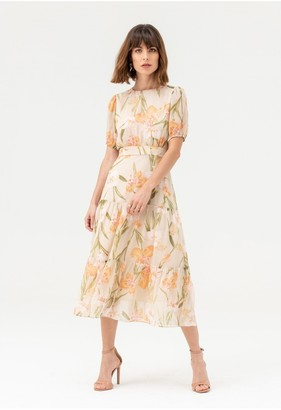 LIENA Round Neck Short Sleeve Midi Dress in Nude Floral
