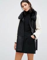 Glamorous Color Block Coat With Faux Fur Trim