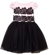 David Charles Pink and Black Satin Dress with Spot Tulle Skirt