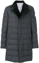 Moncler fox fur collar padded trench coat