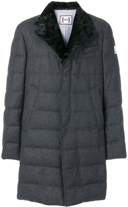 Moncler Fox Fur Collar Padded Trench Coat