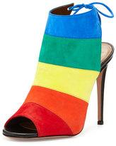 Aquazzura Rainbow Striped Suede Sandal, Multi