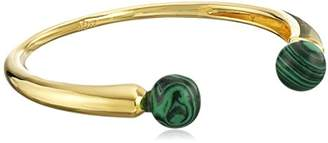 Noir Sphere Semi Precious Malachite Open Cuff Bracelet