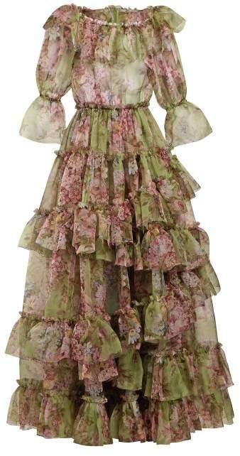Dolce & Gabbana Tiered Rose Print Silk Blend Organza Gown - Womens - Green Multi