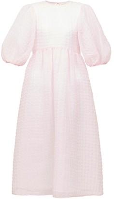 Cecilie Bahnsen Karmen Tie-back Puff-sleeve Organza Midi Dress - Pink