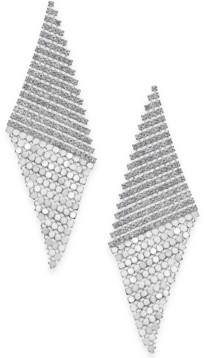 Thalia Sodi Silver-Tone Pave Triangular Mesh Drop Earrings, Created for Macy's