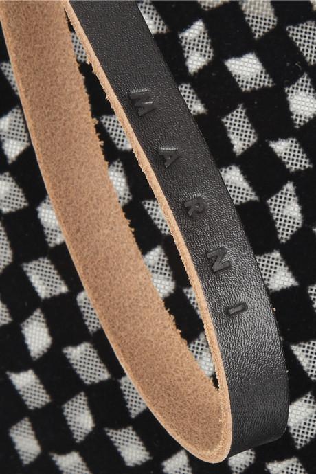 Marni Velour-print mesh cosmetics case