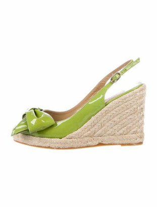 Valentino Patent Leather Bow Accents Espadrilles Green