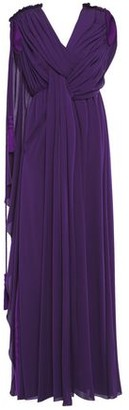 Lanvin Ruched Draped Silk-crepe Gown