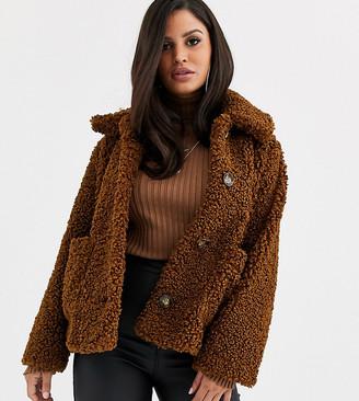 Asos DESIGN Petite teddy button through coat in brown