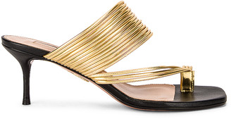 Aquazzura Sunny 60 Sandal in Black & Gold | FWRD