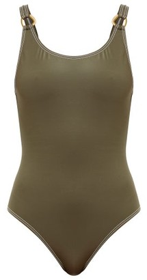 Solid & Striped The Stella Shimmer-jersey Swimsuit - Womens - Khaki