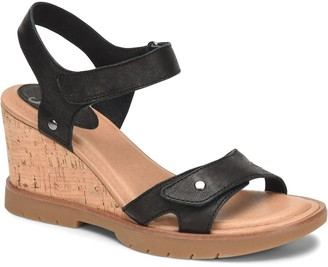 Sofft Leather Cork Wedge Sandals - Cyndy