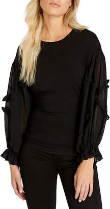 Buffalo David Bitton Saphira Ruffle-Sleeve Blouson Top