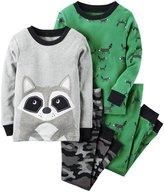 Carter's 4 Piece Raccoon PJ Set (Toddler/Kid) - Print - 3T
