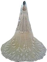 Ondine8 One Tier Cathedral Length Tulle Comb Wedding Veil with Appliqued Hem
