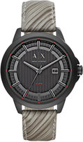 Armani Exchange A|X Men's Gray Leather Strap Watch 44mm AX2264
