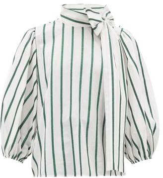 RED Valentino Pussy-bow Striped Cotton-blend Blouse - Womens - Green White
