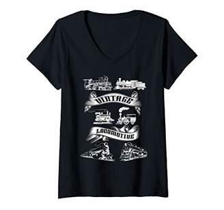 Womens Vintage Locomotive Retro Steam Engine Train Railroad Freight V-Neck T-Shirt