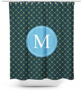 Good4Life [ M - INITIAL ] Name Monogram Polyester Fabric Bathroom Decor Shower Curtain Set with Hooks [ Golden Yellow Tiled ]