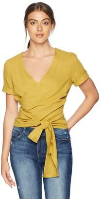 J.o.a. Women's Short Sleeve Wrap Front Crop Top