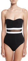 Jets Classique Contrast Bandeau One-Piece Swimsuit, Black/White