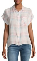 Rails Whitney Short-Sleeve Plaid Linen-Blend Top