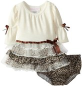 Bonnie Baby girls Newborn Fuzzy Leopard Tiered Dress
