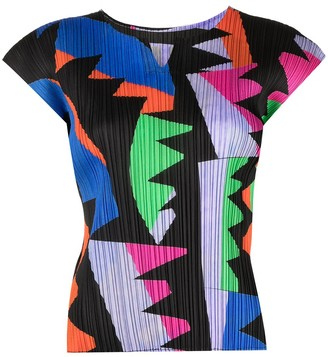 Pleats Please Issey Miyake Graphic-Print Pleated Blouse
