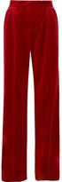 Max Mara Cotton-blend Velvet Wide-leg Pants - Red