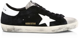 Golden Goose Men's Superstar Black Ice Low-Top Suede Sneakers