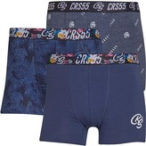 Crosshatch Mens Zurcher Three Pack Boxers Navy/Print/Print