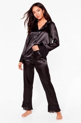 Nasty Gal Womens Get Chiffon With It Petite Satin trousers Pajama Set - Black - 4, Black