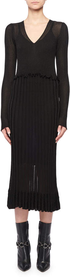 Altuzarra Lurex Long-Sleeve Dress w/ Flounce Hem