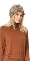 Adrienne Landau Knit Fur Hat with Fur Pom