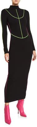 Kirin Stretch Knit Long Turtleneck Dress