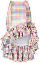 Caroline Constas Gingham Ruffle Pencil Skirt