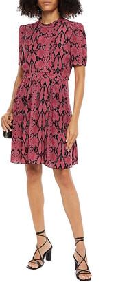 BA&SH Cascade Snake-print Crepe De Chine Mini Dress