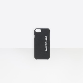 Balenciaga Phone Case in black smooth leather and white printed logo