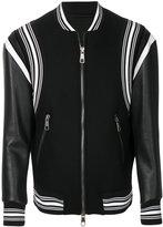 Neil Barrett striped leather bomber jacket